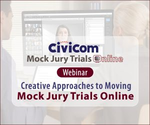 2 Legal Professionals Attending an Online Mock Jury Trial